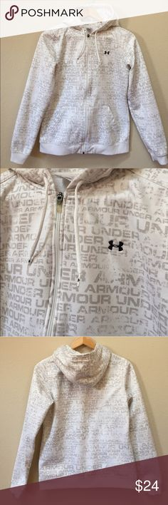 "Under Armour Zipper Front hoodie front pockets Under Armour zipper front hoodie with front pockets. Size medium. Approximate length is 24"" and approximate chest measurement is 19.5"". There is some minor fabric piling along the bottom of the sweatshirt. There's also some minor discoloration at the wrists which I noted in a photo. Under Armour Tops Sweatshirts & Hoodies"