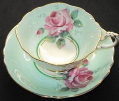 Paragon Royal Large Pink Rose Green Blue Gold Wide Tea Cup and Saucer | eBay