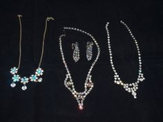 Vintage Rhinestone necklace lot + earrings, light blue, aurora borealis & clear