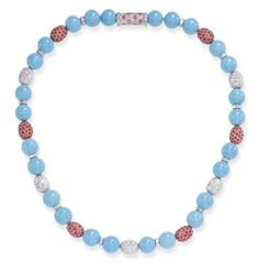 A TURQUOISE, DIAMOND AND PINK SAPPHIRE NECKLACE, BY MICHELE DELLA VALLE  Of twenty-six turquoise beads, measuring approximately 10.90 mm, intersected by pavé-set diamond and pink sapphire boules and square-cut diamond rondelles, joined by a clasp of similar design, mounted in 18k white gold
