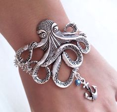 Possible Pirate Costume Accesory Silver Octopus with Anchor charm Bracelet   Vintage by pier7craft, $9.50