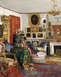 Gustave De Launay - An Interior of a Sitting Room Art Print. Explore our collection of Gustave De Launay fine art prints, giclees, posters and hand crafted canvas products Bohemian Living Rooms, Bohemian Bedroom Decor, House Paint Interior, Interior Rendering, Interior Design, Victorian Interiors, Fru Fru, Canvas Prints, Art Prints