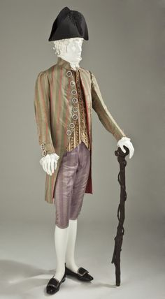 Man's Coat, France, circa altered circa silk plain weave and silk satin stripes. (via Los Angeles County Museum of Art) 18th Century Clothing, 18th Century Fashion, French Outfit, Three Piece Suit, 3 Piece, Period Outfit, Empire, Period Costumes, Historical Clothing