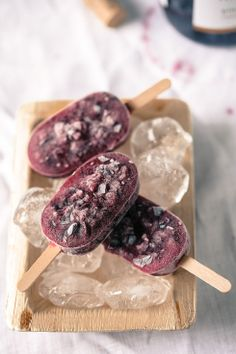 Frozen Wine & Honey Popsicles- 1cup red wine (such as Pinot Noir), 2 Plums, 1 cup black currants, 1 teaspoon of honey-  Mix all in blender.  Puree ingredients smooth or leave mixture a little rough. Pour / spoon mixture in popsicle molds & freeze.