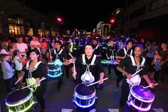 A parade of LED drummers kicked off the grand-opening festival's first night.  Photo: Jean Jacques Pochet
