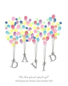 Mothers Day Crafts For Kids Discover Custom Fingerprints Heart Necklace Name being Lifted by Balloons Fingerprint Guest Book Shower Birthday Naming Party Art Pen Ink Custom Printable Design Birthday Cards, Birthday Gifts, Birthday Book, 70th Birthday, Birthday Ideas, Birthday Calendar, Birthday Design, Art For Kids, Crafts For Kids