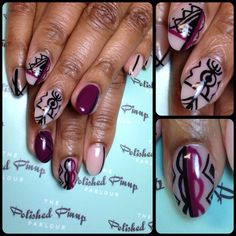 Tribal nails with a color pop! Hand painting is my favorite!