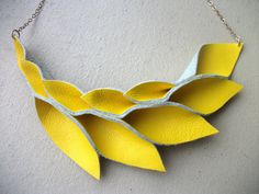 Petal Collection  Bright Yellow Leather Necklace by HaKNiK on Etsy