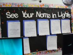 """With a string of Christmas lights, create a bulletin board """"See Your Name in Lights"""" where any stellar student work can be hung! Love it."""