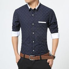 Shirts 2018 New Autumn Fashion Brand Men Clothes Slim Fit Men Long Sleeve Shirt Men Polka Dot Casual Men Shirt Social Plus Size M-5xl