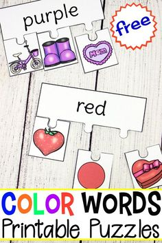 This set of printable color words puzzles is perfect for learning color words. Learners will assemble puzzles matching each item to the correct color word. #homeschooling #preschool #homeschoolpreschool #learningcolorwords #teachingcolors #preschoolprintables https://homeschoolpreschool.net/printable-color-words-puzzles/
