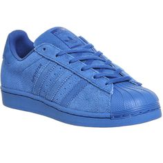 Adidas Superstar Gs ($66) ❤ liked on Polyvore featuring shoes, sneakers, adidas, обувь, eqt blue mono suede, hers trainers, trainers, low top, low profile sneakers and adidas footwear