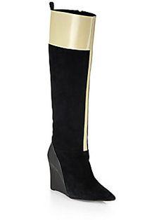 Derek Lam Mila Suede Knee-High Wedge Boots $995.00