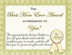 best mother award certificate | Email This BlogThis! Share to Twitter Share to Facebook Share to ...