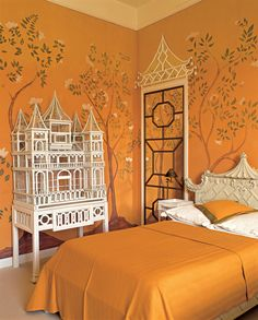 Chinoiserie bedroom in French decorator Didier Haspeslagh's home in Chantilly