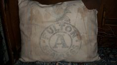 Primitive FULTON Feedsack Pillow by countrypresence on Etsy