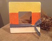 Candy Corn Striped and glittered Halloween Frame