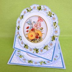 Blue Bouquet Happy Anniversary 3D Picture Doily C   E Kit on Craftsuprint created by Elisabeth Le Clainche - I printed this beautiful card onto gloss photo paper. I cut out the base, folded it. I cut out the card and decoupages. Using foam pads, I attached the card to its base. This is a lovely card easy to make and  this is a gorgeous design!