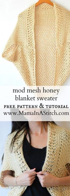 Mod Mesh Honey Blanket Sweater - a super easy crochet pattern for a beautiful cardigan sweater. It includes tutorials also via Mama In A Stitch Knit and Crochet Patterns - Jessica pattern Cardigan Au Crochet, Crochet Jacket, Crochet Scarves, Crochet Shawl, Crochet Clothes, Crochet Stitches, Knit Crochet, Crochet Sweaters, Crochet Shrugs