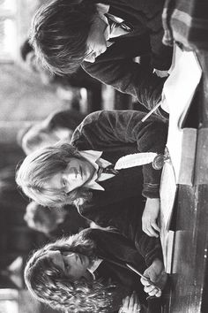 Ron, Harry, and Hermione in the Great Hall.