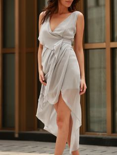 Sexy V-Neck Sleeveless Draped Asymmetrical Dress For Women Draped Dress, Dress Skirt, Dress Up, Nice Dresses, Casual Dresses, Elegant Dresses, Asymmetrical Dress, Spring, Balmain