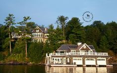 Windover Lake house on Lake Muskoka Ontario Muskoka Living Interiors Waterfront Cottage, Lake Cottage, Cottage Living, Water House, Boat House, Ontario Cottages, Boat Shed, Cottage Exterior, Coastal Homes