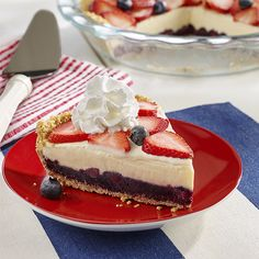 Red, White and Blue Ice Cream Pie: A vanilla ice cream pie with a homemade graham cracker crust is layered with fresh blueberries and strawberries for a delicious red, white and blue holiday dessert Ice Cream Pies, Ice Cream Treats, Ice Cream Desserts, Frozen Desserts, Holiday Desserts, No Bake Desserts, Easy Desserts, Dessert Recipes, Top Recipes