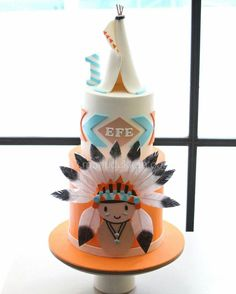 The daily life of a cake designer 🍰 Istanbul – Turkiye 212 212 26 60 … - Kuchen Ideen :) Beautiful Cakes, Amazing Cakes, Native American Cake, 1st Boy Birthday, Birthday Cake, Indian Birthday Parties, Indian Cake, Tribal Baby Shower, Woodland Cake