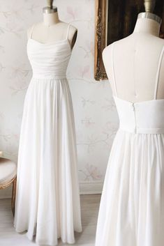Simple White Long Chiffon Prom Dress,Spaghetti Straps Evening Dress · Hot Lady · Online Store Powered by Storenvy Simple Bridesmaid Dresses, Simple Prom Dress, Cheap Prom Dresses, Simple Long White Dress, Dress Long, Dress Prom, Bridesmaid Gowns, Fall Dresses, Long Dresses