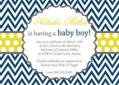 Cute invite.  Can make background pattern diff colors like green or black or pink.