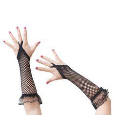 Netzhandschuhe Spitze lang Gothic Karneval Fasching - schwarz in Feierlichkeiten / Anlässe   • Karneval Fasching Party • Handschuhe