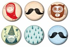 Fridge Magnets Set of 6 - Mustache, Gnomes, party favors, prizes, gifts,  fridge magnet, button.
