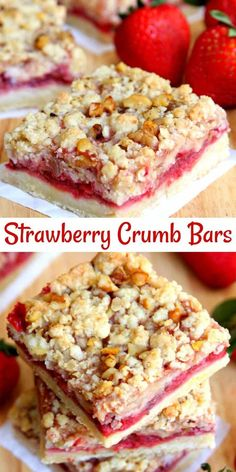 Strawberry Crumb Bars Strawberry Crumb Bars – A buttery shortbread crust with a fresh strawberry filling and topped with a crumbly streusel topping. An easy dessert that everyone will love! Dessert Dips, Smores Dessert, Taco Dessert, Summer Dessert Recipes, Breakfast Dessert, Köstliche Desserts, Delicious Desserts, Pudding Desserts, Yummy Food