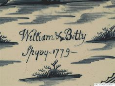 """Named and Dated Creamware Charger, 1779,  attributed to Humble, Hartley, Greens and Co., inscribed 'William & Betty Spyvy, 1779,"""" Types Of Ceramics, Cow Creamer, King Of Prussia, English Pottery, Tea Canisters, Snake Design, Hens And Chicks, Satyr, Charger"""