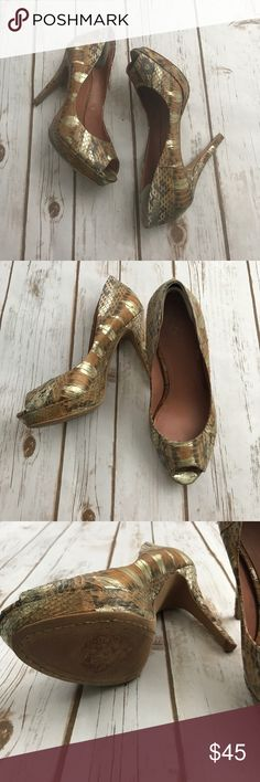 Vince Camuto snakeskin with gold accent pumps Very amazing pre owned condition. Size 6! Open toe heal 3.5 inches Vince Camuto Shoes Heels