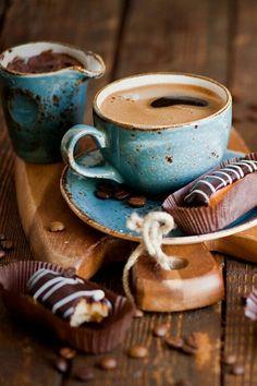 Hot coffee and chocolate