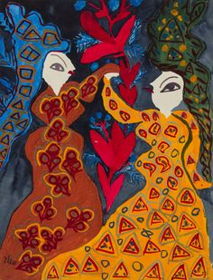 The paintings of Baya Mahieddine, known for her bold colors and woman-centric compositions, are being exhibited at NYU's Grey Art Gallery through March The artist is said to have influenced Picasso. Famous Artist Names, Famous Artists, Art And Illustration, Gouache, Canon Eos 1300d, Matisse Paintings, Photo Lovers, African Art Paintings, Figurative Kunst