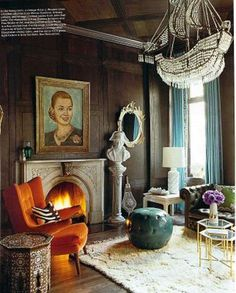 In love with this combination of colors. Decorating a dark room is daunting, but this is perfect.