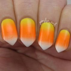 Candy Corn Inspired Nails
