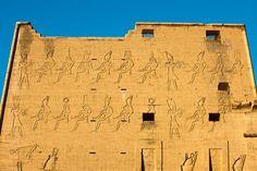 Edfu (Idfu), Egypt - Horus Temple, view of the West side of Pylon