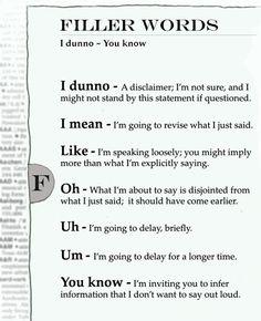 Filler words to avoid