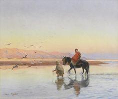 Eugène Girardet (1853-1907) La traversée Huile sur toile  signée en bas à gauche 47 x 56,5 cm  - Galerie Ary Jan