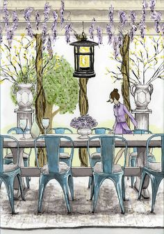 Rendering of an outdoor dining area with a wisteria trellis.  By Amy Barton