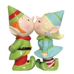 Westland Giftware Mwah, Magnetic Elves Salt and Pepper Shaker Set, 3-3/4-inch. These cute shakers have a magnetic insert to keep them together.