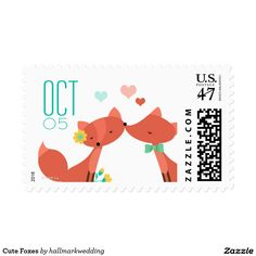 Cute Foxes Postage Stamp
