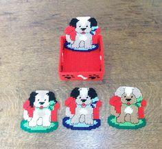 Puppy Dog Beverage Coasters  Set of 4 with by CoastalCrochetCrafts