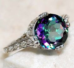 Rainbow Topaz 925 Solid Sterling Silver Art Nouveau Filigree Ring ✯