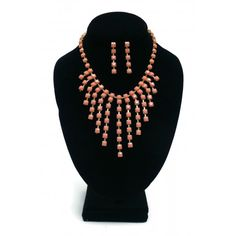 ON SALE! - Necklace & Earring Set - 13 Point Peach - $6.25 - The Beadcage - Jewelry & Gift