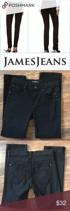 "🎉SALE🎉 James Jeans Sz 28 Hunter Straight Jean Classically styled and perfect to add to your closet, these jeans from James Jeans are a size 28 and are a rich black. The lighting does not show how dark they really are, but these are in EUC as my cousin only wore once for a broadcast. The style is the Hunter black which is a straight leg style. Denim is 97% cotton, 3% Lycra and waist measures 14.75"" flat across unstretched. Inseam is 28"" and leg opening measures 7"" flat across. Thanks for…"