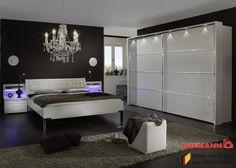 Schlafzimmer Mit Bett 180 X 200 Cm Alpinweiss / Glas Weiss Woody ...